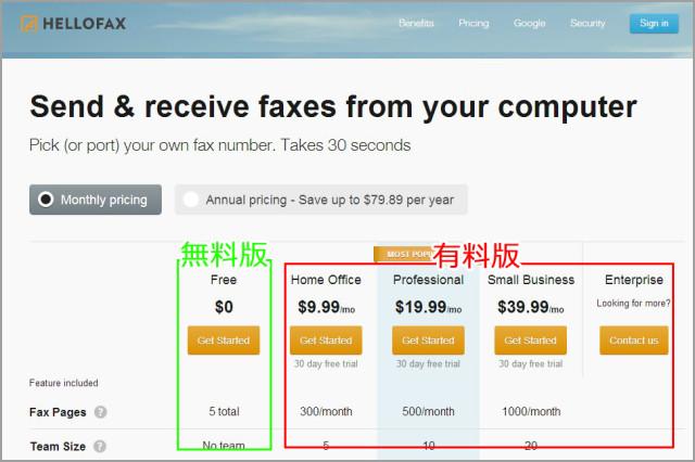 Hellofaxの無料版と有料版