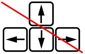 カーソル(矢印)キーは使わない