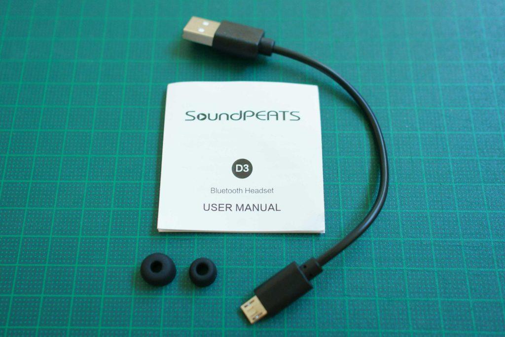 SoundPEATS Bluetooth ヘッドセット内容物