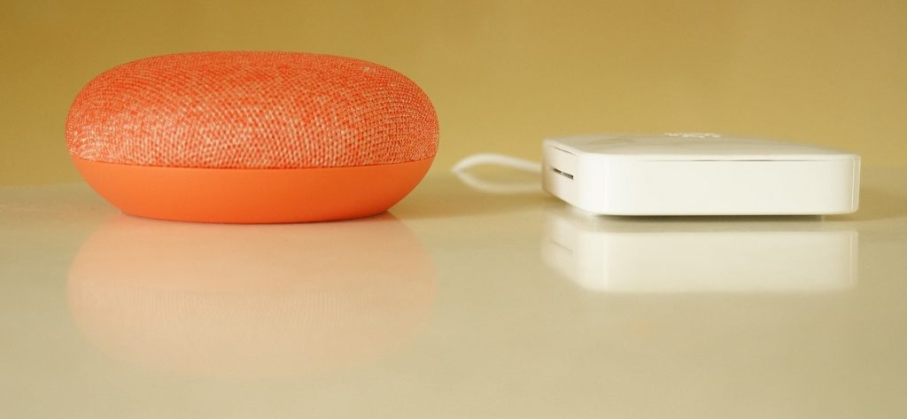 (左) GoogleHome mini と (右) Nature Remo